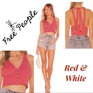 Free People Top Halter in White & Red HOT NWT